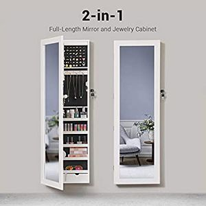 """6 LEDs Mirror Jewelry Cabinet, christmas gifts for women, 47.3""""H Lockable Wall/Door Mounted Jewelry Armoire Organizer with Mirror, 2 Drawers, Pure Whi for Sale in La Puente, CA"""