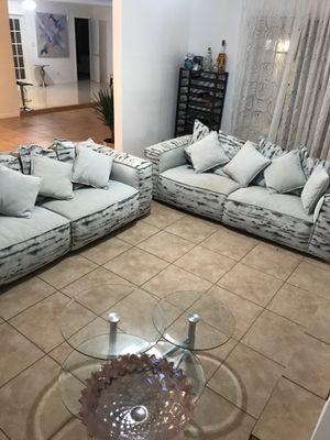 2pc microfiber couches El Dorado ,grey-blue for Sale in Pembroke Pines, FL