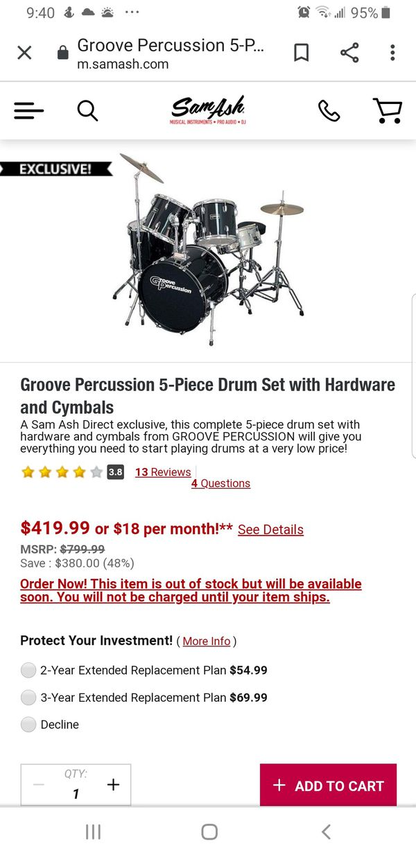 Groove Percussion 5-Piece Drum Set with Hardware and Cymbals