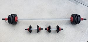 Cast Iron Weights 110lbs Bench Bar Dumbbells for Sale in Chicago, IL