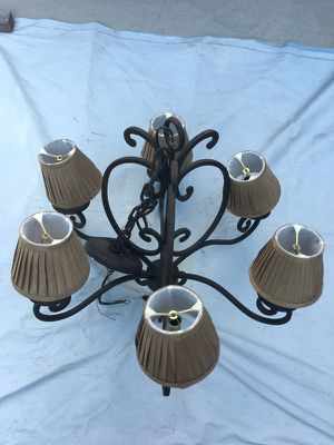 6 light wrought iron black chandelier with shades for Sale in Sterling, VA