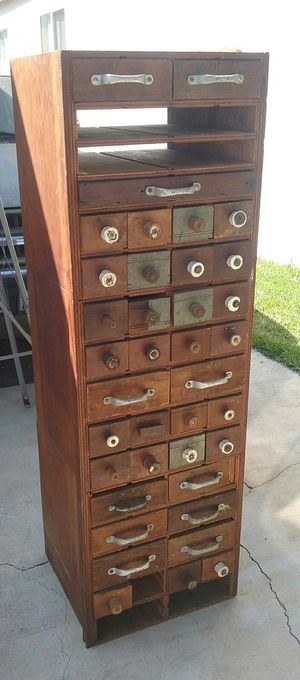 Primitive rustic wood cabinet with multiple drawers for Sale in Whittier, CA