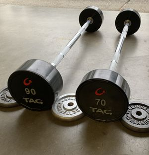 TAG Fitness Rubber Fixed Barbells 70,90lbs (160lbs Total) Weight Set Urethane Coated for Sale in Clackamas, OR