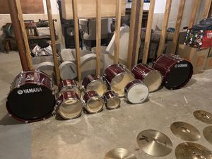 Yamaha stage custom professional drum set 10 piece set birch cranberry red And lots of extras for Sale in Torrington, CT