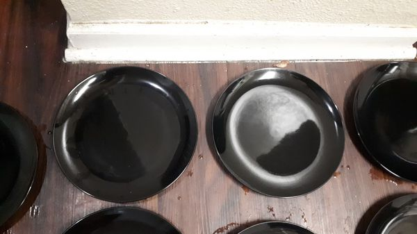 All These Heavy Eight Black Ceramic Dishes for 8$