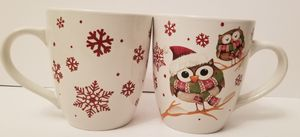 CHRISTMAS OWLS Jumbo Coffee Mug, Festive Owl Cup for Holidays, Red Snowflakes for Sale in Milton, PA