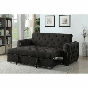 GREY FABRIC SOFA TUFTED ACCENTS FUTON ADJUSTABLE BED for Sale in Temecula, CA