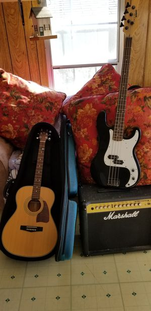 Ibanez acoustic &Marshall amp & Kramer bass for Sale in Amarillo, TX