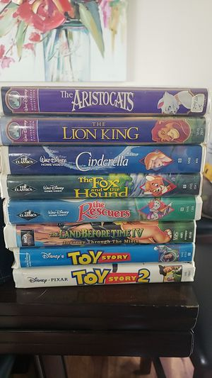 Disney VHS - 8 - Arisocats, Lion King, Cinderella, Fox and the hound, Rescuers, Toy Story 1 & 2, Land before time for Sale in Maple Valley, WA