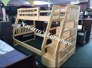 New Pine wood twin/Full Bunk Bed with mattresses for Sale in San Bruno, CA