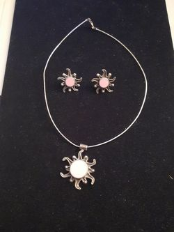 Sterling Silver Necklace with Charm and Earrings for Sale in Mount Rainier,  MD