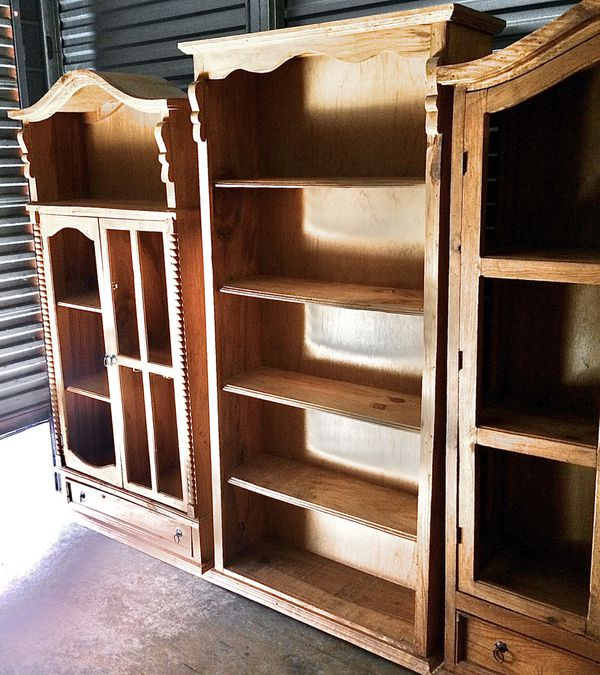 Knotty Pine Kitchen Cabinets For Sale: Solid Knotty Pine Old World Rustic Bookcase Storage And