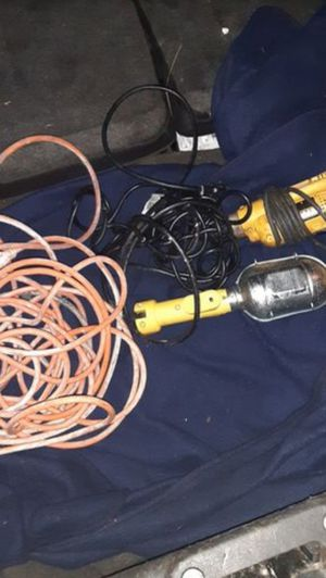 Dewalt power drill, working light , 50ft extension cord for Sale in Sacramento, CA