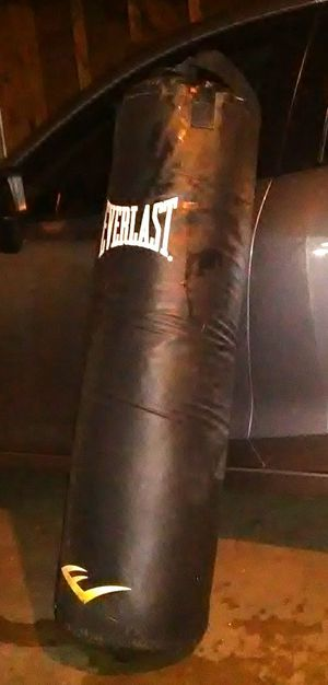 100 LB EVERLAST PUNCHING BAG OVERALL THE BAG IS IN GOOD CONDITION ONLY DEFECT IS ONE OF THE HANDLES BROKE THE REPLACEMENT CANVAS ONLINE $14.99 AND UP for Sale in Colton, CA