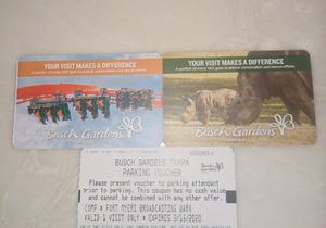 Busch garden tickets for 2 and a parking pass for Sale in Cape Coral, FL