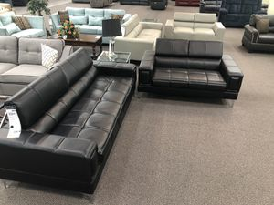 Only $50 Down! New Modern Couch / Love Seat. Black (or White) Leather. Free Delivery! for Sale in Los Angeles, CA