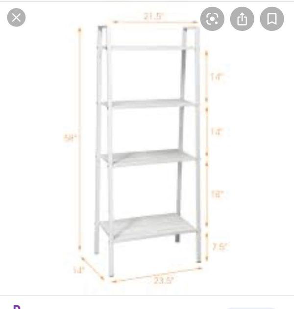 Cost way 4 tier metal ladder shelf storage rack bookshelf metal mesh layers display stand