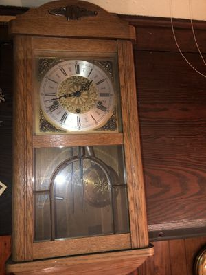 Antique German Oak Wall Clock with beveled glass door for Sale in Pittsburgh, PA