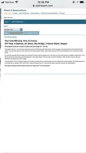 Canopy Zipline tickets for 2 for Sale in Bentonville, VA
