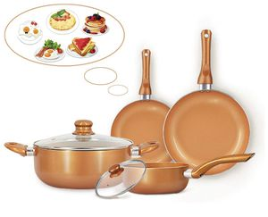 6-piece Nonstick Kitchen Cookware Set, Ceramic Coating Cooking Pot and Pans Set, Stock Pot/Milk Pot/Frying Pans Set, Copper Aluminum Pan with Lid, In for Sale in Piscataway, NJ