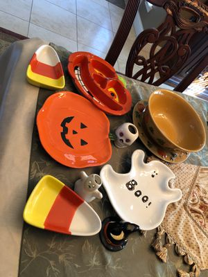 Halloween and Fall candy, cookie plates candle holders for Sale in Haslet, TX