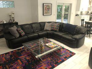 Natuzzi Italia Black Leather Sectional for Sale in Delray Beach, FL