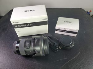 Sigma 18-35mm f/1.8 DC HSM Art Lens for Canon EF W/Docking for Sale in Glendale, CA