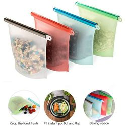 4 Pack Reusable Silicone Food Steamer Bags Eco-Friendly Food Grade BPA Free Airtight Seal Leak Proof Food Containers Four Colors for Sale in Redondo Beach,  CA