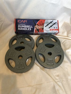 10lb weight plates (x4) with adjustable handles for Sale in Los Angeles, CA