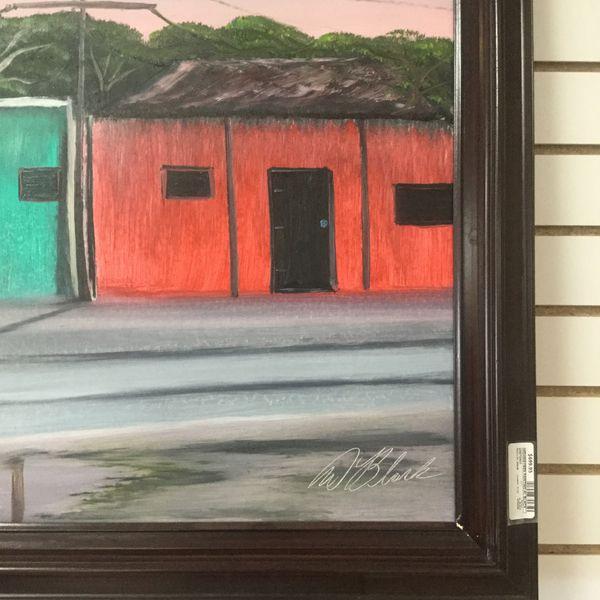 Al Black Highwayman Painting ( Very Rare) Eddies Place in Fort Pierce. Size 29x 52 Wood Frame
