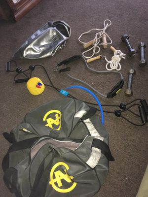Exercise equipment with silver deflated exercise ball asking $35 for Sale in Buffalo, NY