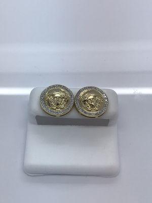 10k yellow gold diamond Medusa earrings for Sale in Renton, WA