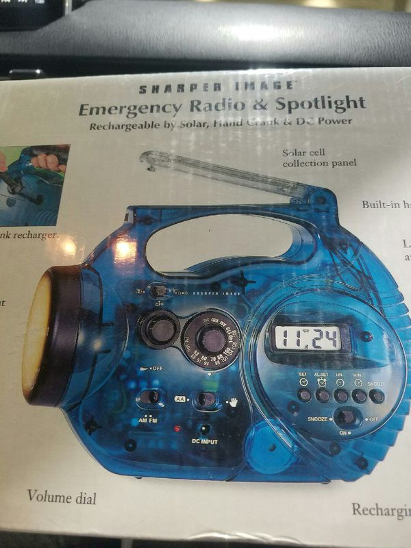 Electric Blue Emergency Radio & Spotlight