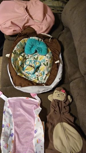 Baby monkey suit,bath sling, swing seat cover, car seat cover for Sale in Buckeye, AZ
