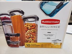 Rubbermaid Brilliance Pantry Organization & Food Storage Containers with Airtight Lids, Set of 10 (20 Pieces Total) for Sale in West McLean, VA