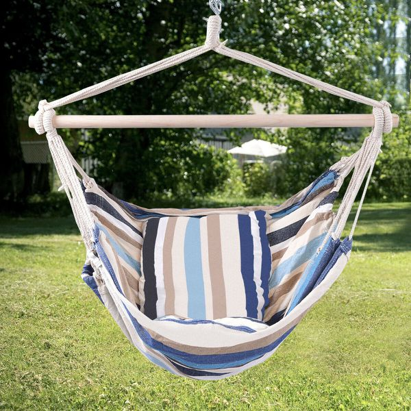 2 PCS Deluxe Hammock Rope Chair Porch Yard Tree Hanging Air Swing Outdoor