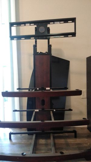 Shelf Glass TV Stand with Mount Black for Sale in Tampa, FL