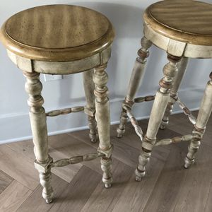"Solid wood Pier One barstools bar stools. 30.5"" high. Craftsman farmhouse style. Whitewash color with beige and brown accents. Selling for a friend. P for Sale in Washington, DC"