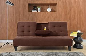 DARK BROWN Dacron Fabric Futon Sofa Bed with Drop Down Cup Holder for Sale in Highland, CA