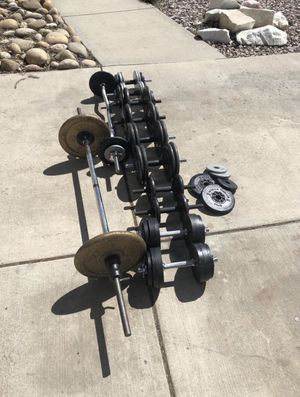 300lbs 1in weights plus straight bar, curl bar and dumbbells. for Sale in Brighton, CO