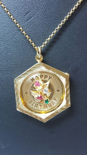 14k yellow gold italy chain happy birthday pendant for Sale in Philadelphia, PA