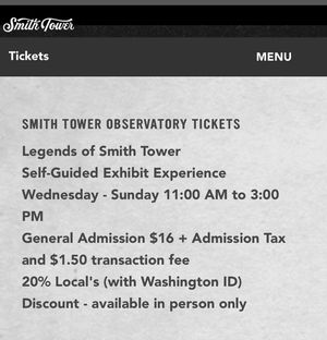 2 tickets to Smith Tower 11-3pm access on 10-22-20 for Sale in Seattle, WA