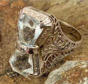 Vintage 14kt White Gold Filigree& Aquamarine Ring for Sale in Roswell, GA