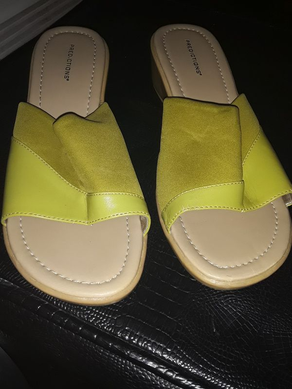 Lime green wedge sandals