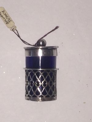 1904 William Devenport master Silversmith, Antique Sterling Silver With Cobalt Blue Trinket for Sale in Fontana, CA