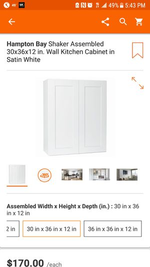 Shaker Assembled 30x36x12 in. Wall Kitchen Cabinet in Satin White for Sale in Dallas, TX