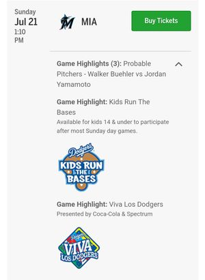 2 Dodgers tickets for Sunday 7/21 for Sale in Covina, CA
