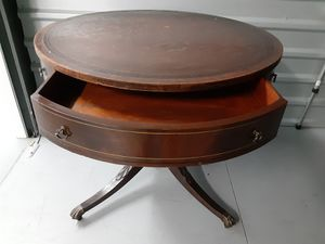 Antique round table with leather top and brass casters 1800s for Sale in Bradenton, FL