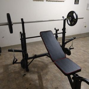 Workout Bench Press incline decline flat with leg developer & curl preacher! & Weight Set & Bar for Sale in Sacramento, CA