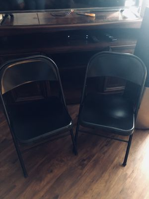 Two metal folding chairs for Sale in Dallas, TX